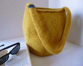 Hand-knitted, felted bucket bag