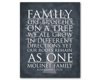 Personalized wedding anniversary gift - Family like branches on a tree we all grow in different directions yet our roots remain as one PRINT