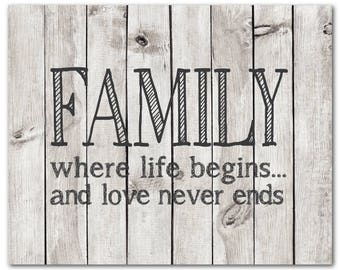 Family where life begins...and love never ends - Typography Wall Art PRINT - Farmhouse Style Family Wall Art - Room decor