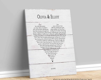 Any song lyrics PRINT OR CANVAS - Wedding Vows Art - Customized Wedding, Anniversary, Valentines Gift - gift for her or him - Wall Decor