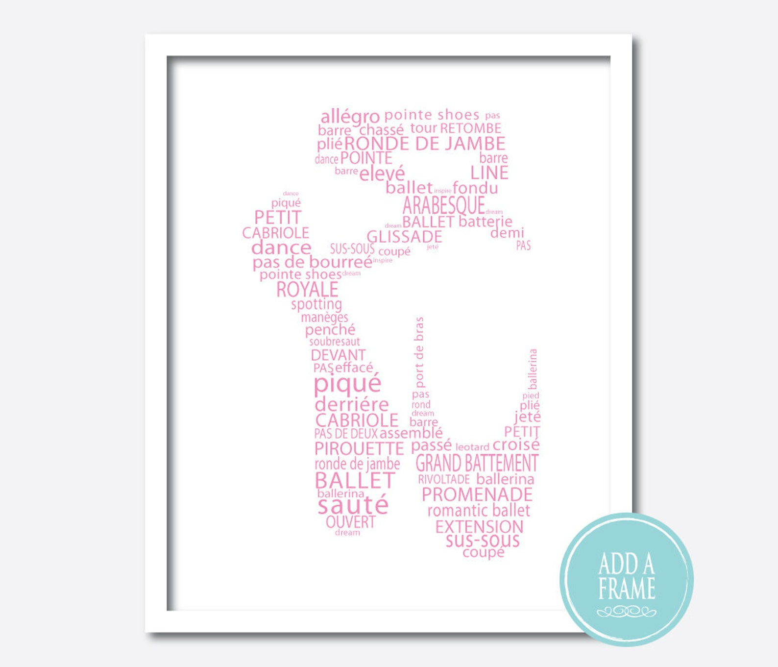 ballerina art - ballet slipper word art - ballet typography - point shoe - dance print - dance wall art - wall decor - girls roo