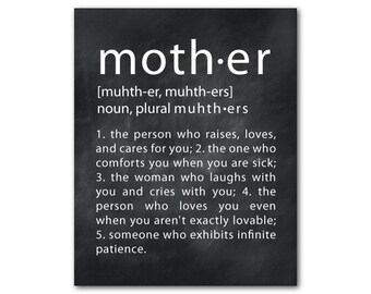 Mother's Day Wall Art Mother Definition - Typography Word Art PRINT - Gift for Mom - Unique gift for mother - Wall Decor - Present for her