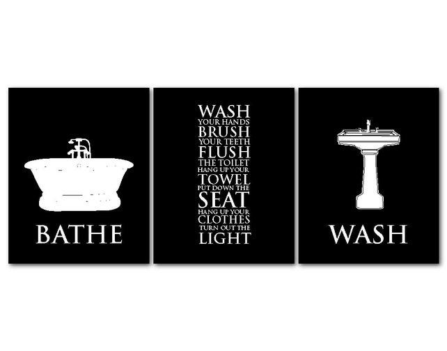 Bathroom Wall Art Trio Bathroom Rules Bathe Wash Flush | Etsy