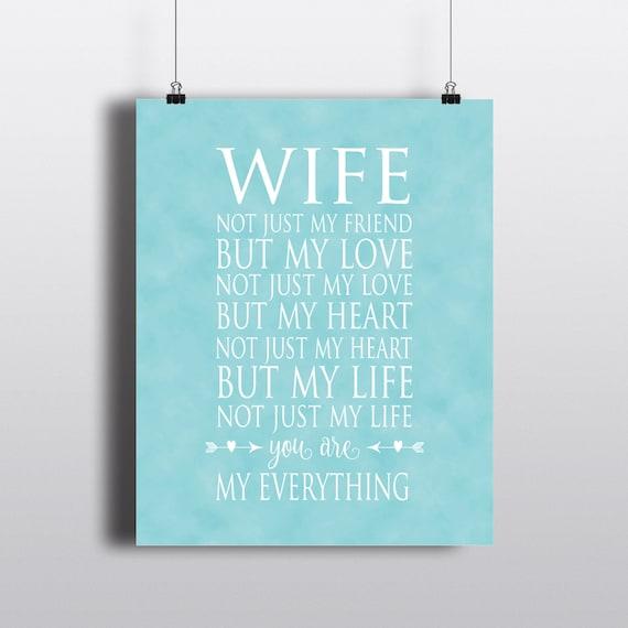 Wife Typography Print Anniversary Gift Wedding Gift Etsy
