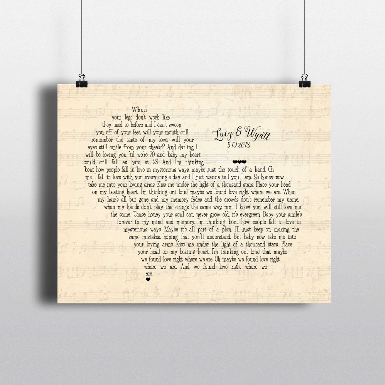 Song Lyrics Wall Decor Unique Anniversary Wedding Gift
