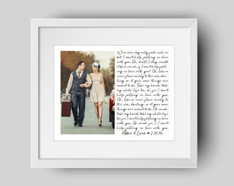Custom Wedding Photo with Song Lyrics PRINT OR CANVAS - Wedding Vows - First Dance Wedding Memento - Anniversary Gift - Gift for couple