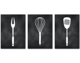 Kitchen Wall Art Trio - Set of Three 5 x 7 or larger Kitchen Utensils Silhouettes PRINTS- Room Decor in your choice of color
