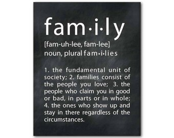 Family Definition Wall Art - What is Family Inspirational wall decor - housewarming gift - gifts under 20 - chalkboard PRINT