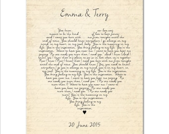 Wedding Song First Dance PRINT - Any song lyrics, Vows Heart Typography - Personalized Wedding, Anniversary gift - gift for couple