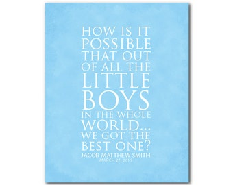 How is it possible that out of all the little boys in the world we got the best one - Customizable Nursery Wall Art - Typography PRINT