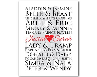 Famous Couples PRINT - Customizable Wedding, Anniversary gift typography - famous couple silhouette - Wall Decor - Valentines Day