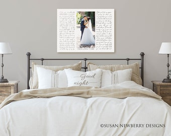 Wedding Photo Collage with Song Lyrics PRINT or CANVAS - Wedding Song - First Dance Wedding Vows - Wedding, Anniversary Gift
