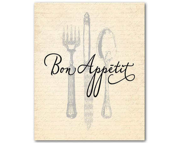 Wall art print- Bon appetit  typography Quote 1063 New home kitchen Gift