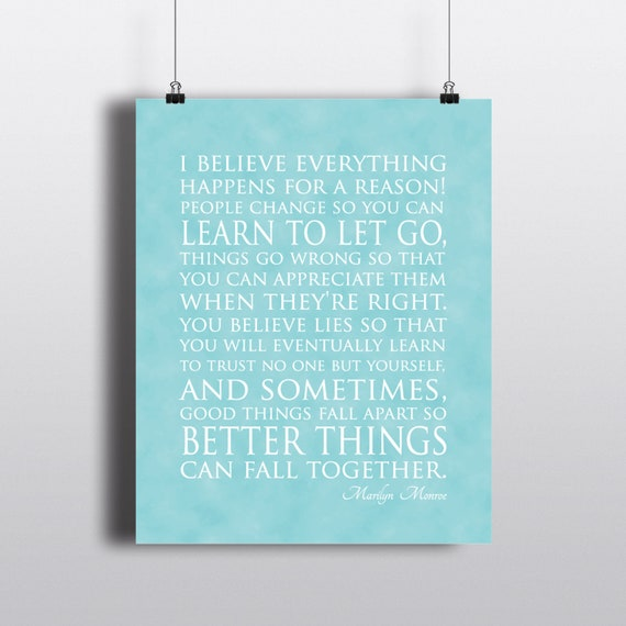 I Believe Everything Happens For A Reason Marilyn Monroe Etsy