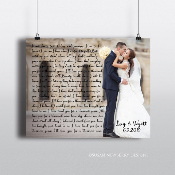 Perfect Custom Wall Decor First dance Wedding Songs Gallery Wrapped Wedding Canvas Print Anniversary Gift Lyrics 16x16  up to 40x40