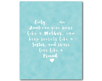 Only an aunt can give hugs... Typography Wall Art PRINT - Inspirational Quote - Room Decor - Gift Idea - aunt gift - family - Wall Decor