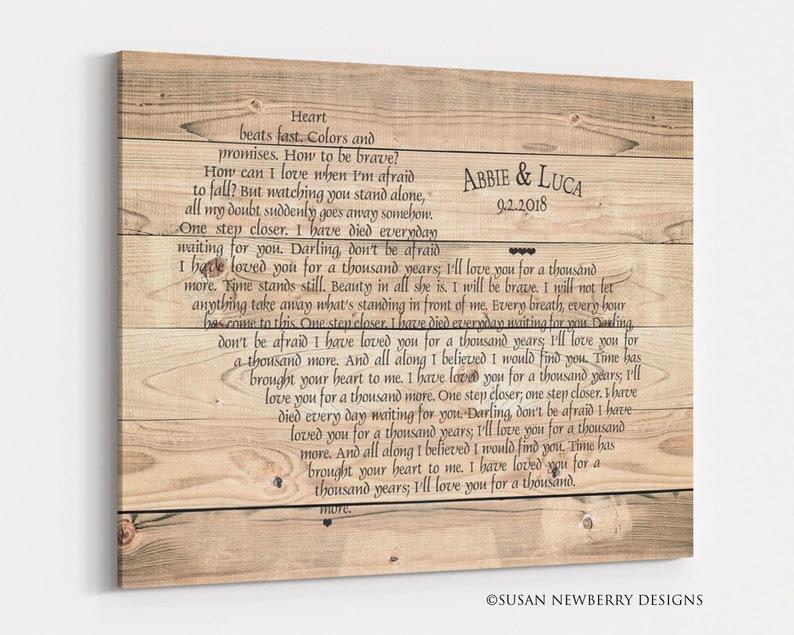 Custom Rustic Anniversary Wedding Gift  Song lyrics wall art Custom - you select