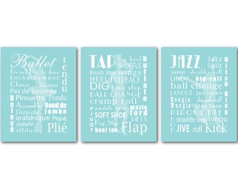 Kid's Room Decor - Wall Art Trio - Ballet Tap Jazz Dance Typography Wall Decor - Ballet PRINTs - Dancer silhouettes - Girl's Room Wall Art