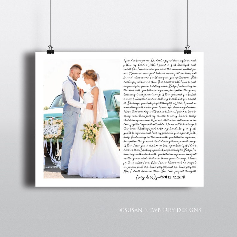 Custom Wedding Song with wedding picture PRINT OR CANVAS  image 0