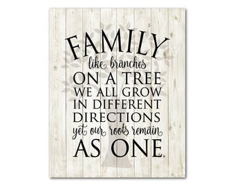 Anniversary, Wedding Gift Ready to hang CANVAS - Family like branches on a tree we all grow in different directions yet our roots remain