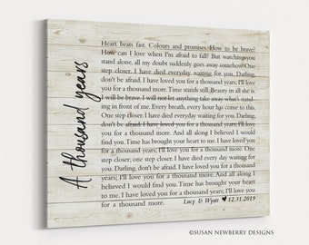Custom CANVAS Wedding Gift - First dance song lyrics - Personalized Anniversary Gift - Bedroom Wall Art - Master bedroom decor