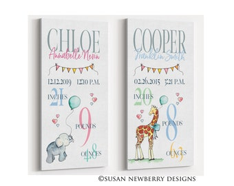 Nursery Wall Art - Birth Announcement Sign CANVAS or PRINT Wall Decor - New Baby Gift - Baby Shower Gift - Baby Birth Stats Sign