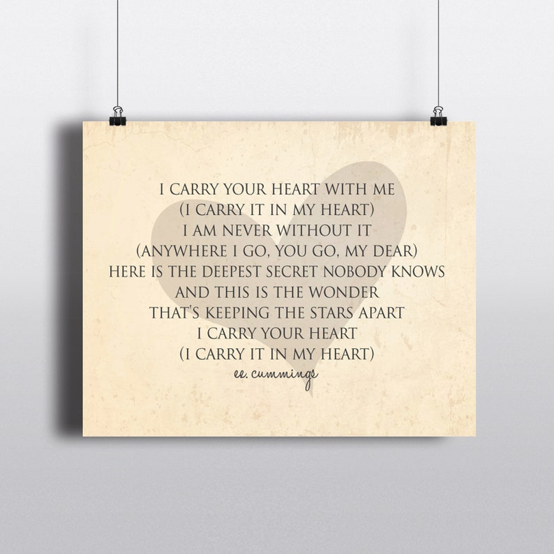 Wall Decor I Carry You In My Heart Ee Cummings Quote Etsy
