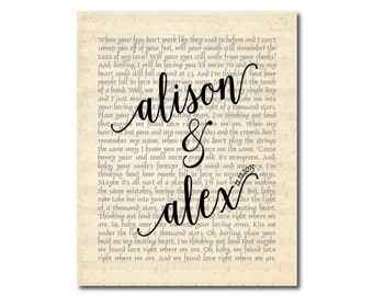 Customized Wedding, Anniversary Gift - Any Song Lyrics, Wedding Song, First Dance Song, Wedding Vows, Poetry typography Word Art PRINT