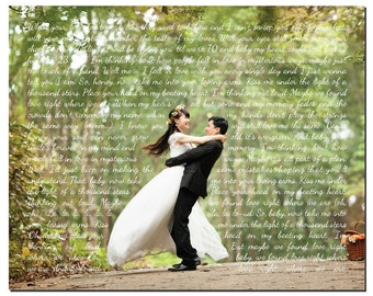 Wedding Photo with Song Lyrics PRINT - Wedding Song First Dance Wedding Vows - Unique Wedding, Anniversary Gift - Wedding Memento