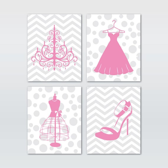 Wall Art Quad - mode mode mode chaussures robe lustre en forme de robe - Chevron à pois - Teen Tween Wall Art - Silhouettes - filles Wall Decor | Fiable Réputation