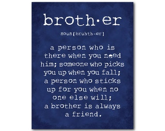 Nursery Decor -  Boys Room Wall Art - A brother is a person Brother Quote - Inspirational Typography Art PRINT - Room decor - Brother Gift