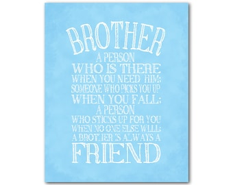 A brother is a person Quote - Inspirational Typography Art PRINT - Brother Gift - Boys Room Wall Art - nursery wall decor - chalkboard PRINT