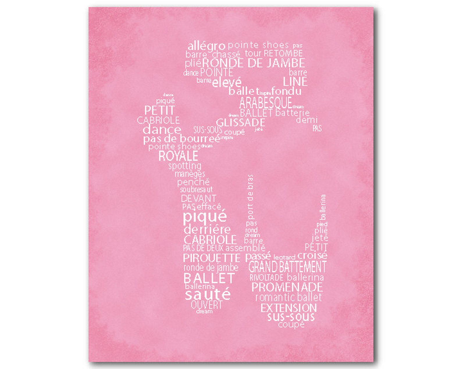 ballerina art - ballet slipper word art - ballet typography - point shoe - dance print - dance wall art - wall decor - girls roo