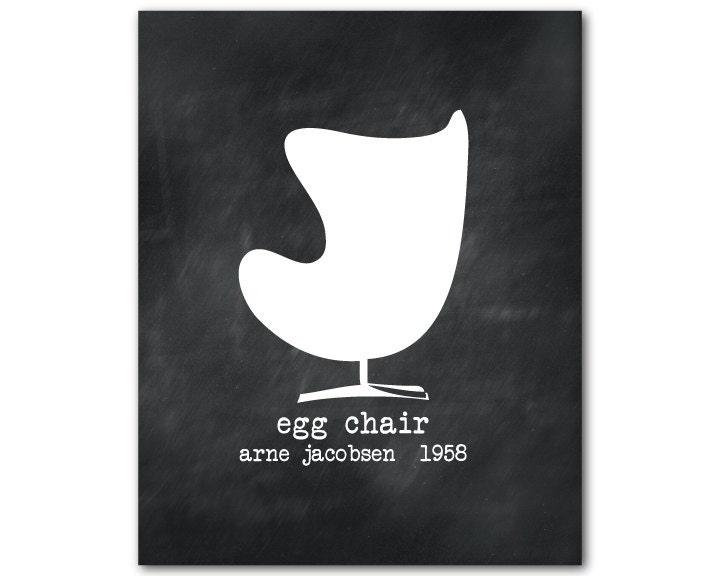Chair silhouette Egg Chair arne jacobsen Wall Art | Etsy