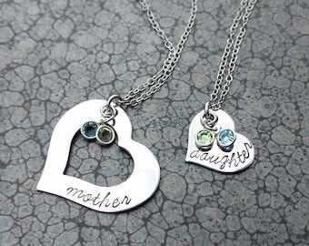 Mother Daughter Necklace Set Mother Daughter Jewelry Personalized with Birthstones