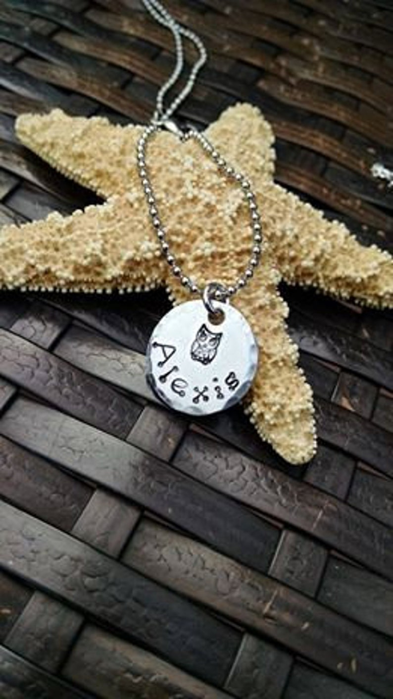 Owl Necklace Personalized Girls Jewelry Hand Stamped Necklace image 0