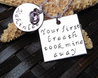 Personalized Mother's Day Gift Your First Breath Took Mine Away New Mom Gift Personalized Mother's Necklace Mother's Jewelry