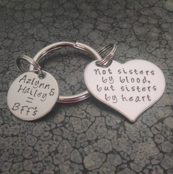 Best Friends Keychain Personalized Keychain Sisters By Heart Etsy