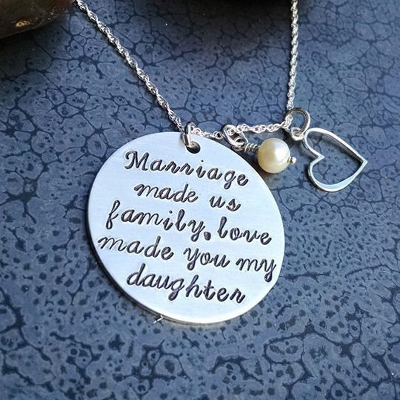 Gift for Step Daughter Personalized Hand Stamped Necklace Love image 0