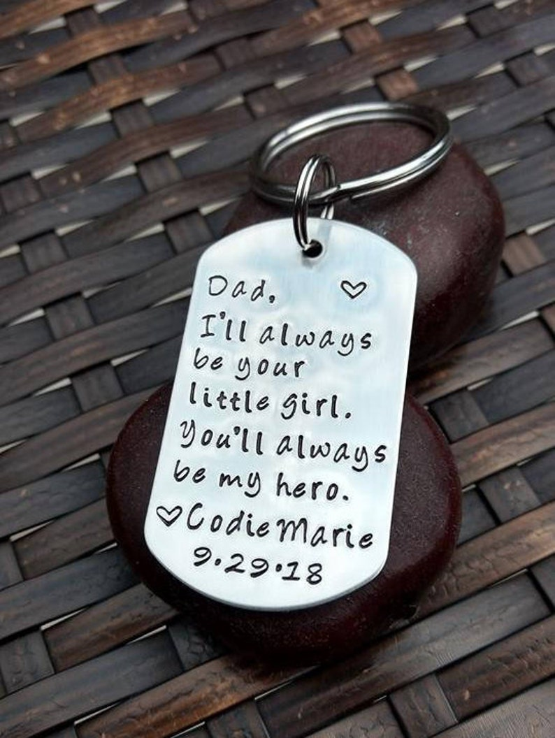 e3b23b481312 Personalized Keychain for Dad Handmade Gift For Dad I ll Always Be Your  Little Girl Father s Day Gift for Dad Men s Keychain
