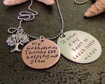 Personalized Teacher Gift Teacher Christmas Gift Teachers It Takes a Big Heart to Teach Little Minds Teacher Appreciation