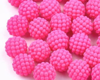100 pcs VTG 15mm Iridescent Champagne Berry Beads Plastic Acrylic Craft Beading