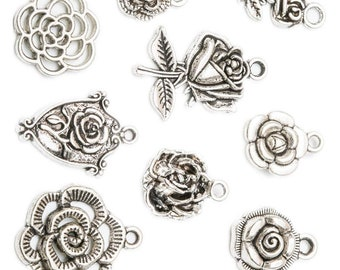4 Flower connector charms antique silver tone F245
