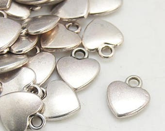 Heart Charms Heart Pendants Silver Heart Charms Puff Heart Charms Silver Charms Love Charms Wholesale Charms BULK Charms 50 pieces