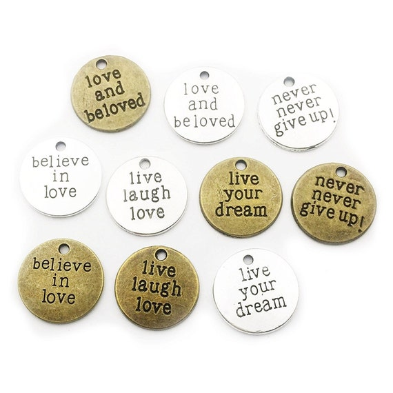 4 Quote Charms Antiqued Silver Word Pendants Find Joy in the Journey