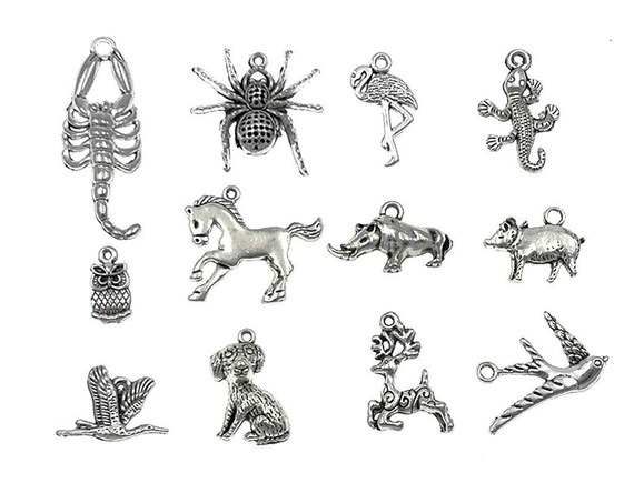 55 Ocean Themed Charms Antique Silver Assorted Charms Lot Nautical Set BULK