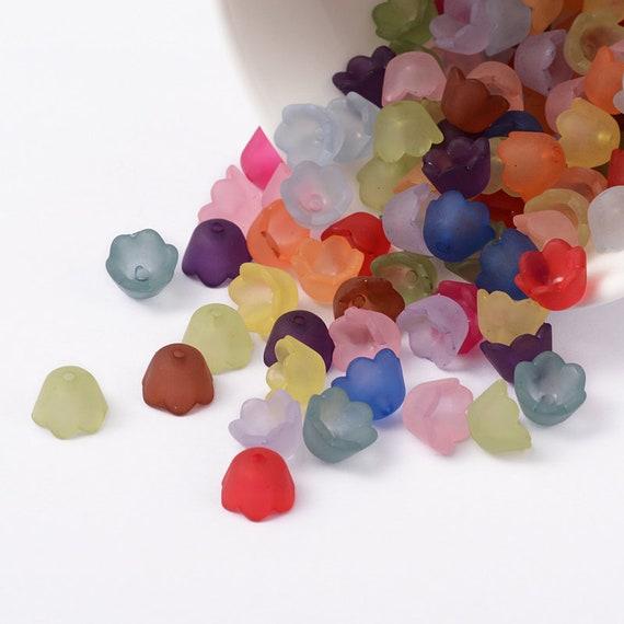 50 BULK Beads Acrylic Flower Assorted Lot 9mm Rose Wholesale Large Lot