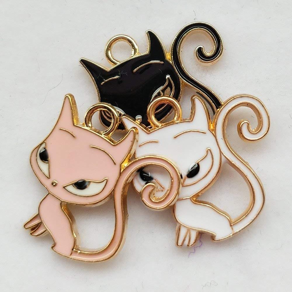 15x8x1MM Cat Charm Gold Tone With Black Enamel 6 Pcs Bulk Lot Options 65429-3285