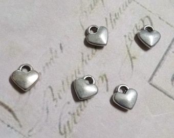 Silver Heart Charms Silver Charms Miniature Charms Tiny Heart Charms Wholesale Charms Bulk Charms 50 pieces