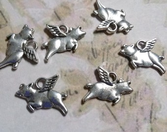 Flying Pig Charms When Pigs Fly Antiqued Silver Bulk Charms Silver Pig Charms 50pcs Wholesale Charms